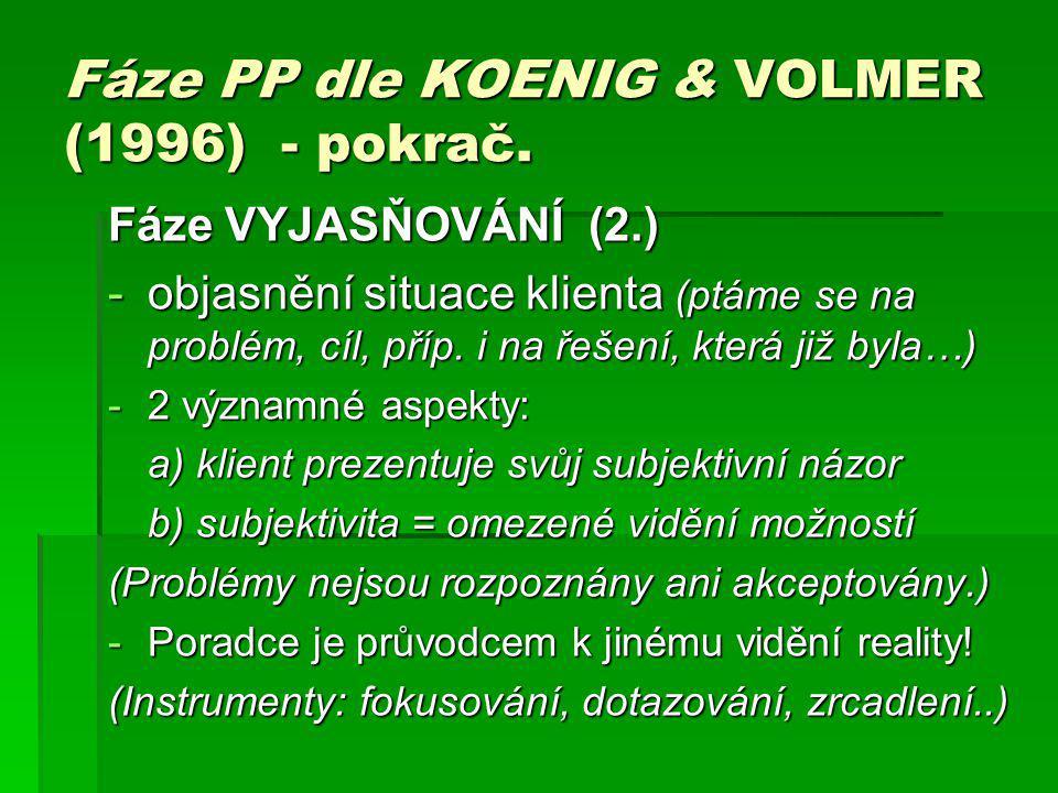 Fáze PP dle KOENIG & VOLMER (1996) - pokrač. Fáze VYJASŇOVÁNÍ (2.) -objasnění situace klienta (ptáme se na problém, cíl, příp. i na řešení, která již