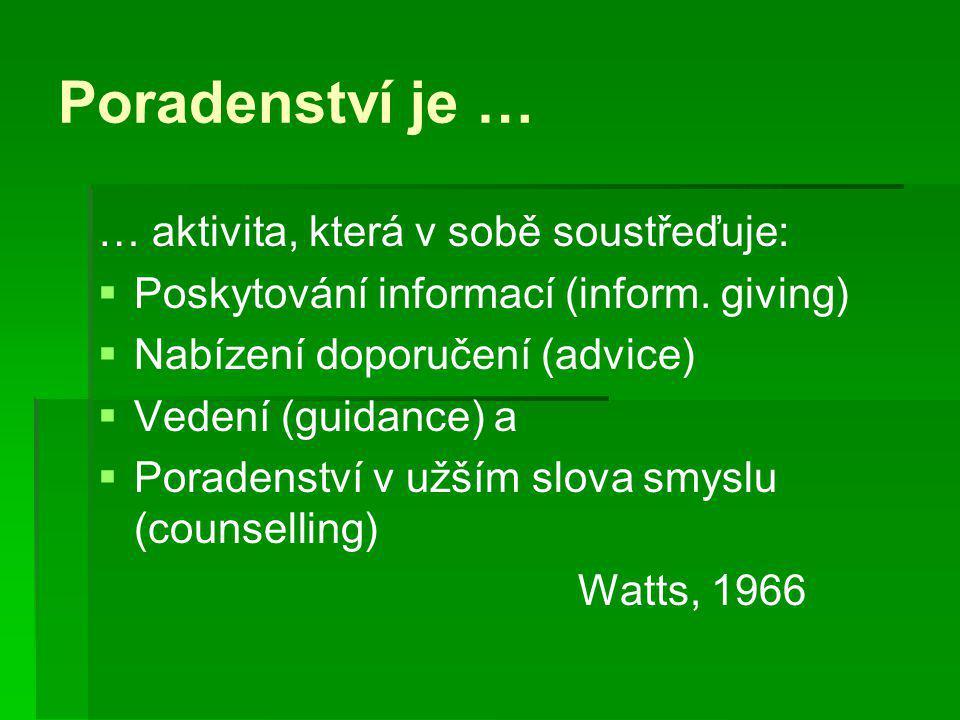 Poradenství je … … aktivita, která v sobě soustřeďuje:   Poskytování informací (inform. giving)   Nabízení doporučení (advice)   Vedení (guidanc