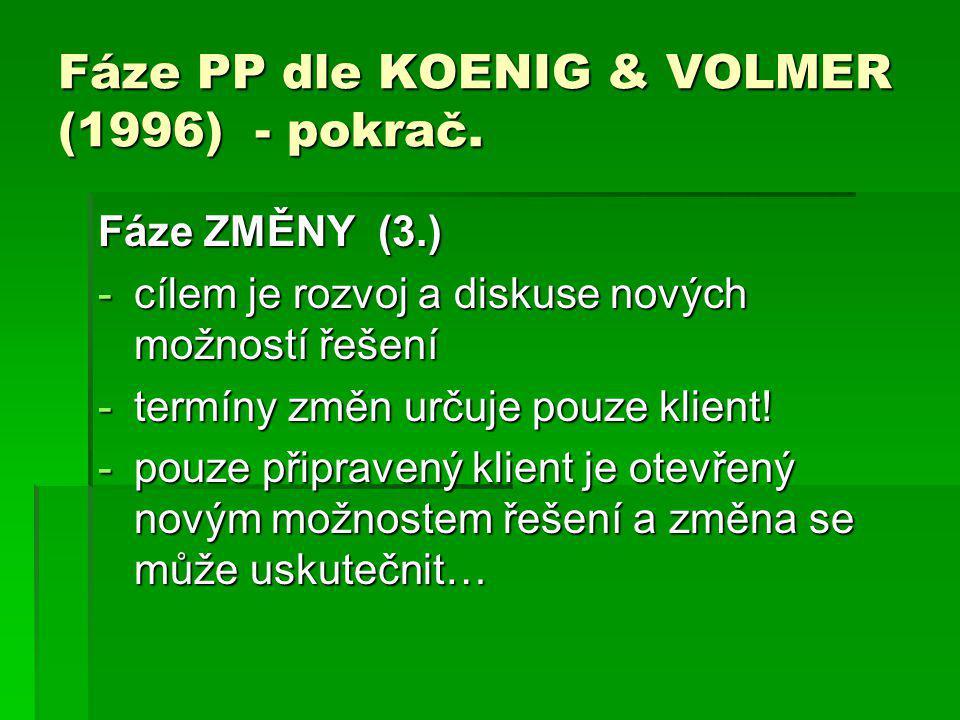 Fáze PP dle KOENIG & VOLMER (1996) - pokrač. Fáze ZMĚNY (3.) -cílem je rozvoj a diskuse nových možností řešení -termíny změn určuje pouze klient! -pou