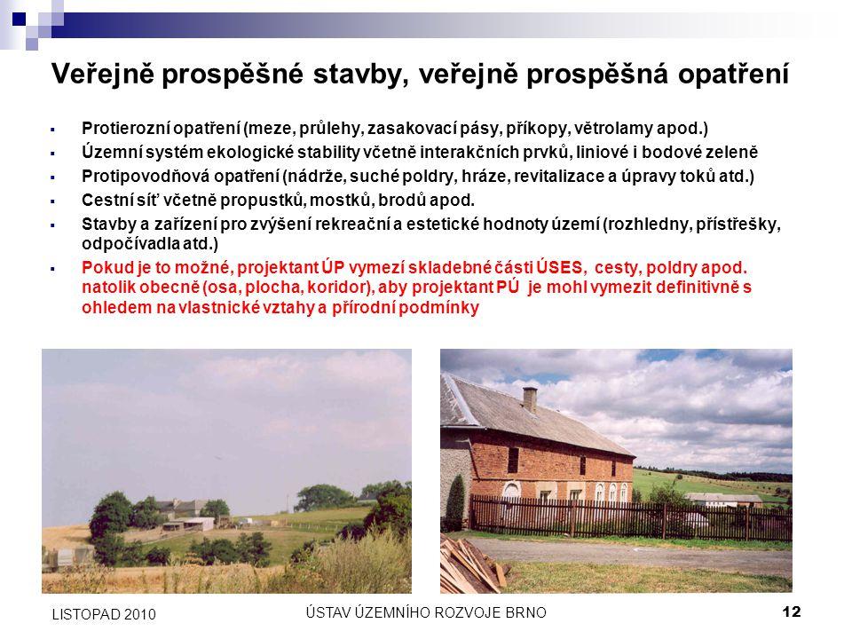 ÚSTAV ÚZEMNÍHO ROZVOJE BRNO12 LISTOPAD 2010 Veřejně prospěšné stavby, veřejně prospěšná opatření  Protierozní opatření (meze, průlehy, zasakovací pás