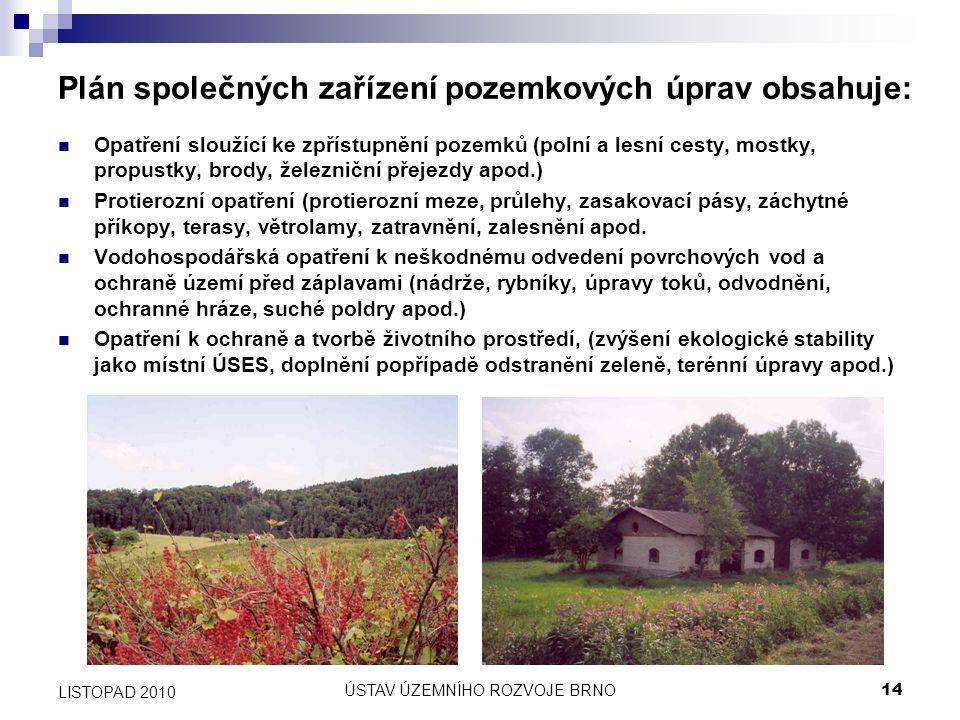 ÚSTAV ÚZEMNÍHO ROZVOJE BRNO14 LISTOPAD 2010 Plán společných zařízení pozemkových úprav obsahuje: Opatření sloužící ke zpřístupnění pozemků (polní a le