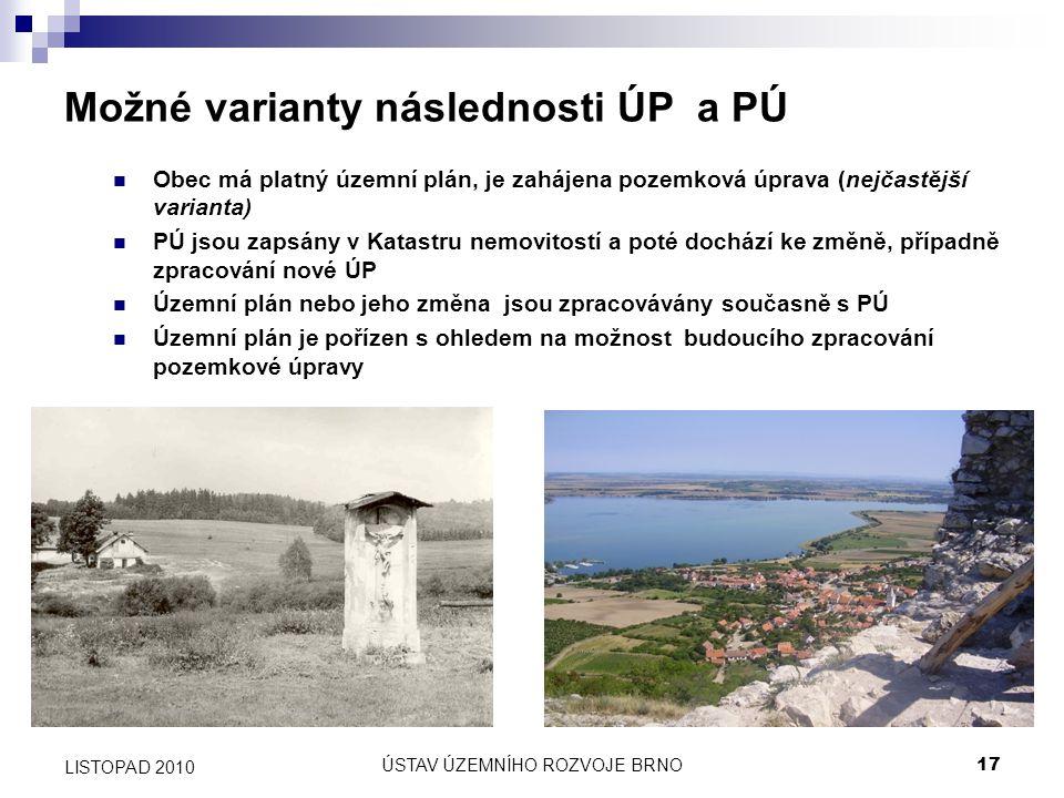 ÚSTAV ÚZEMNÍHO ROZVOJE BRNO17 LISTOPAD 2010 Možné varianty následnosti ÚP a PÚ Obec má platný územní plán, je zahájena pozemková úprava (nejčastější v