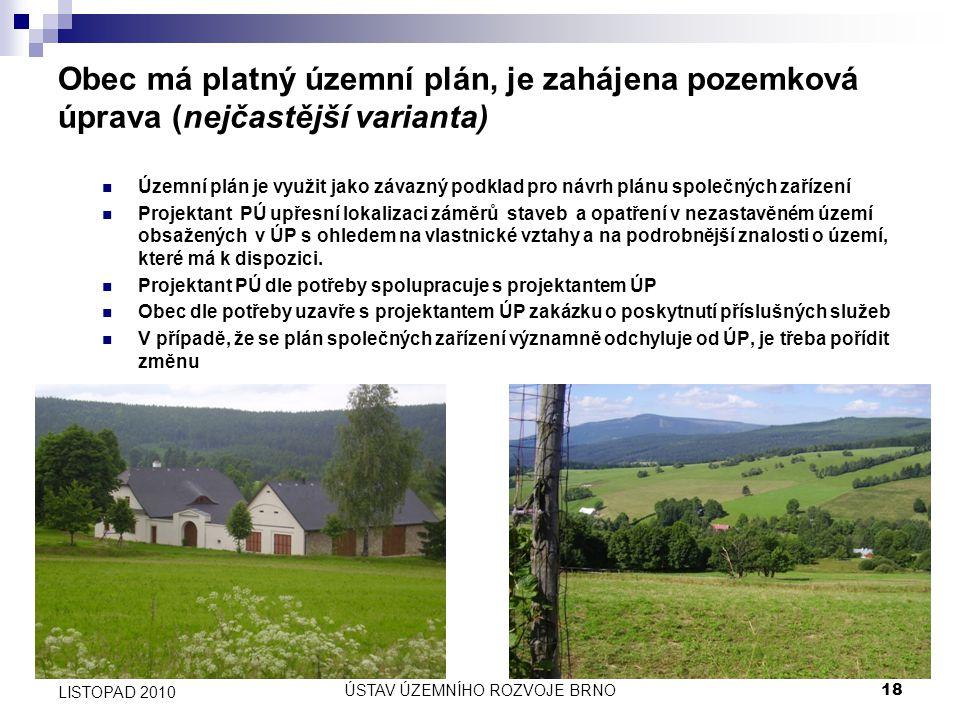 ÚSTAV ÚZEMNÍHO ROZVOJE BRNO18 LISTOPAD 2010 Obec má platný územní plán, je zahájena pozemková úprava (nejčastější varianta) Územní plán je využit jako