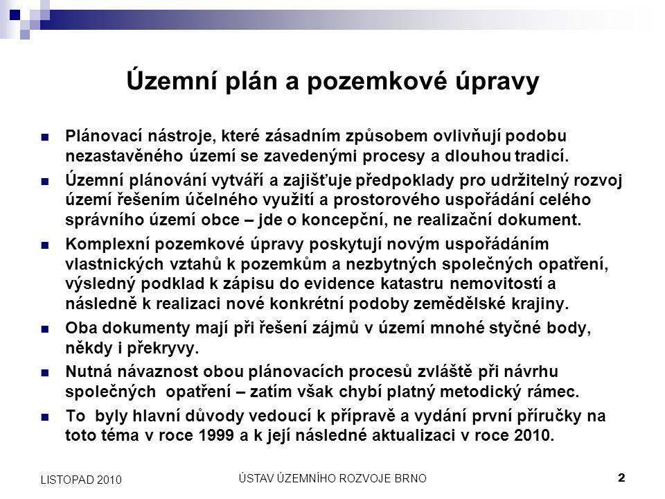 ÚSTAV ÚZEMNÍHO ROZVOJE BRNO23 LISTOPAD 2010 Krajinné prvky – možnost čerpání dotací Zákon č.