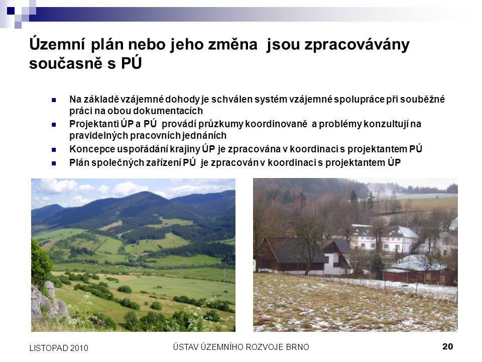 ÚSTAV ÚZEMNÍHO ROZVOJE BRNO20 LISTOPAD 2010 Územní plán nebo jeho změna jsou zpracovávány současně s PÚ Na základě vzájemné dohody je schválen systém