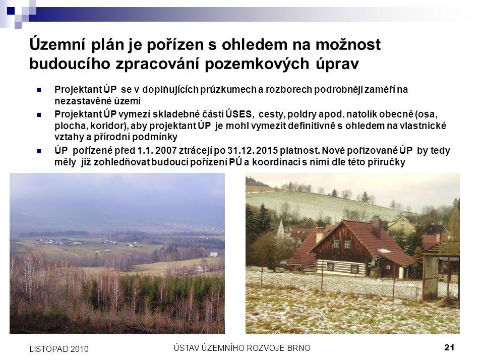 ÚSTAV ÚZEMNÍHO ROZVOJE BRNO21 LISTOPAD 2010 Územní plán je pořízen s ohledem na možnost budoucího zpracování pozemkových úprav Projektant ÚP se v dopl