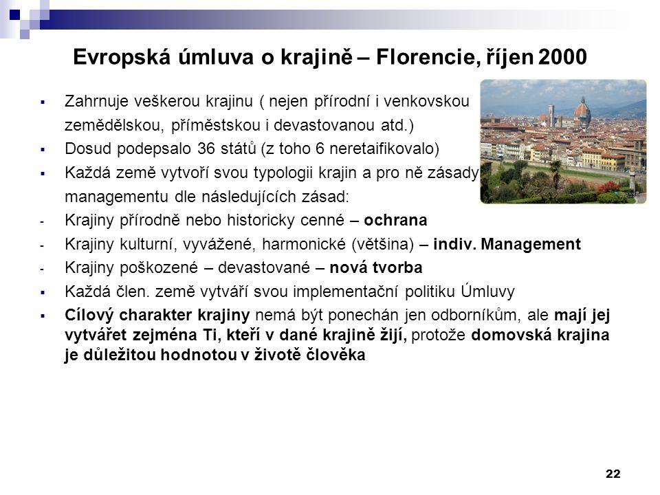 Evropská úmluva o krajině – Florencie, říjen 2000 22  Zahrnuje veškerou krajinu ( nejen přírodní i venkovskou zemědělskou, příměstskou i devastovanou