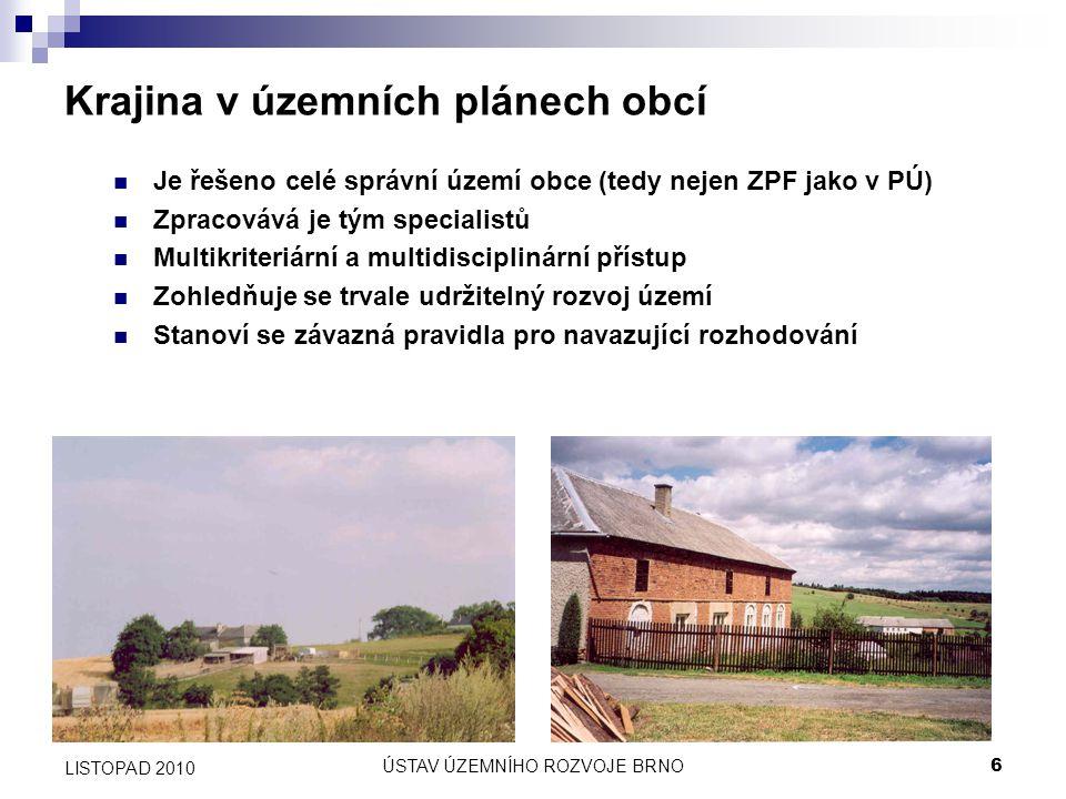 ÚSTAV ÚZEMNÍHO ROZVOJE BRNO6 LISTOPAD 2010 Krajina v územních plánech obcí Je řešeno celé správní území obce (tedy nejen ZPF jako v PÚ) Zpracovává je