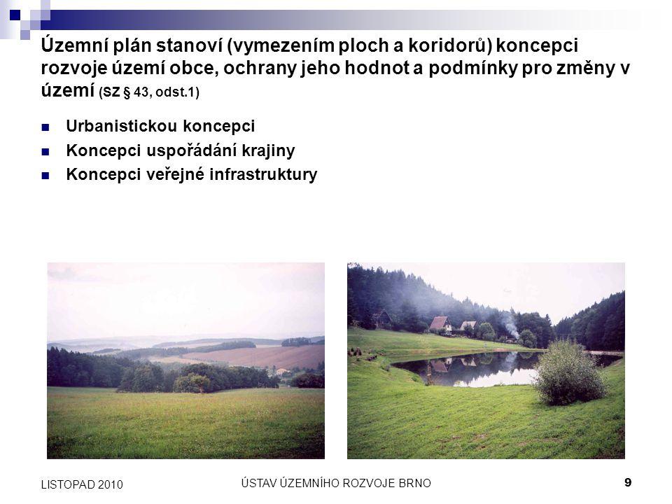 ÚSTAV ÚZEMNÍHO ROZVOJE BRNO9 LISTOPAD 2010 Územní plán stanoví (vymezením ploch a koridorů) koncepci rozvoje území obce, ochrany jeho hodnot a podmínk