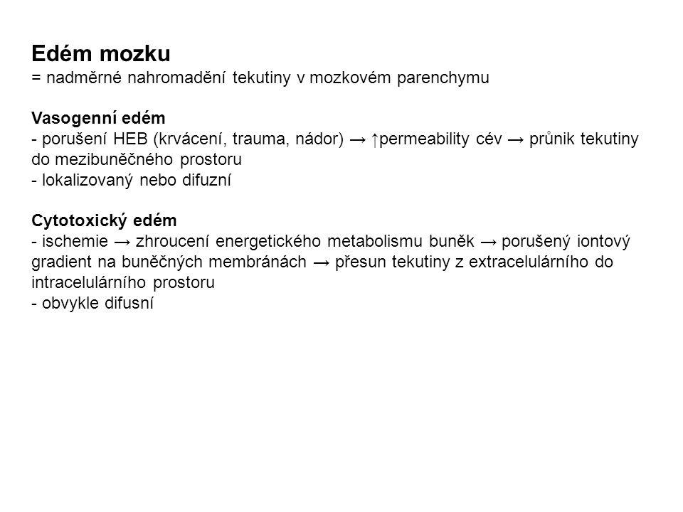 Edém mozku = nadměrné nahromadění tekutiny v mozkovém parenchymu Vasogenní edém - porušení HEB (krvácení, trauma, nádor) → ↑permeability cév → průnik tekutiny do mezibuněčného prostoru - lokalizovaný nebo difuzní Cytotoxický edém - ischemie → zhroucení energetického metabolismu buněk → porušený iontový gradient na buněčných membránách → přesun tekutiny z extracelulárního do intracelulárního prostoru - obvykle difusní