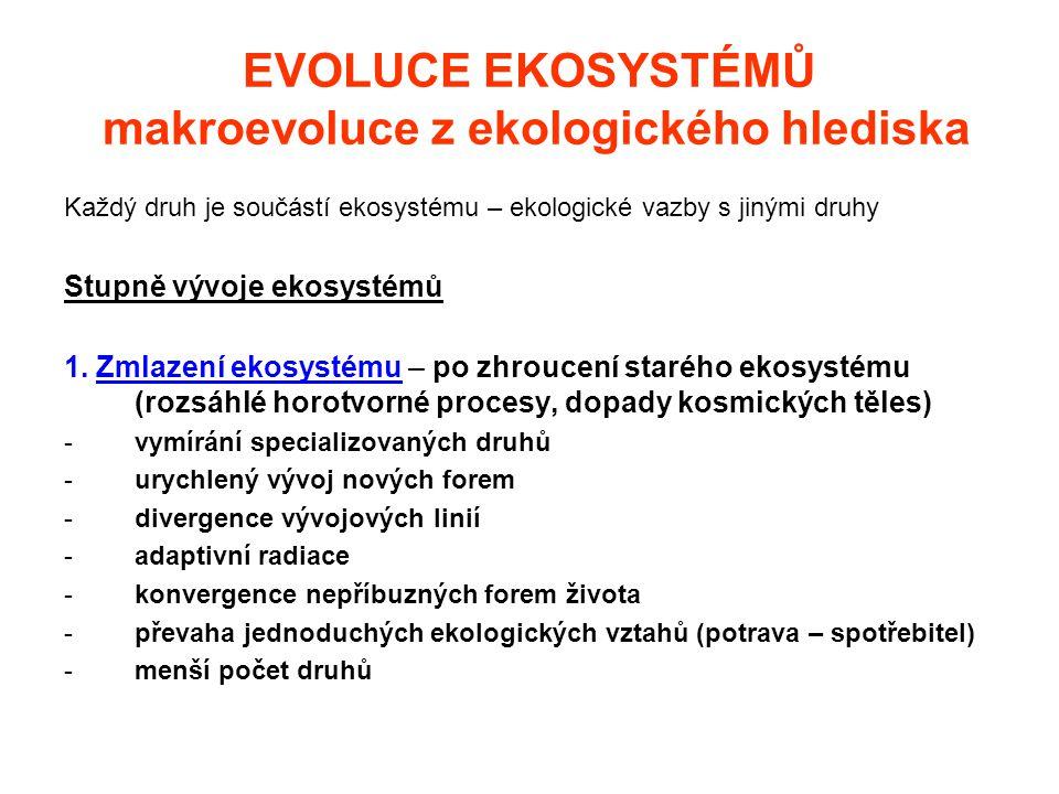 EVOLUCE EKOSYSTÉMŮ makroevoluce z ekologického hlediska Každý druh je součástí ekosystému – ekologické vazby s jinými druhy Stupně vývoje ekosystémů 1