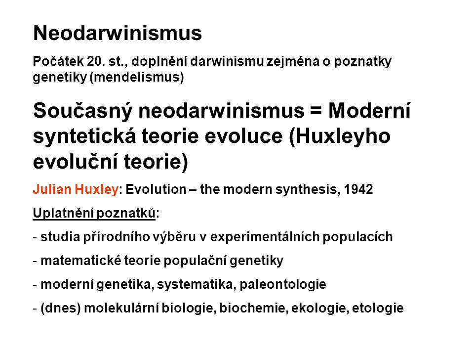 Neodarwinismus Počátek 20. st., doplnění darwinismu zejména o poznatky genetiky (mendelismus) Současný neodarwinismus = Moderní syntetická teorie evol