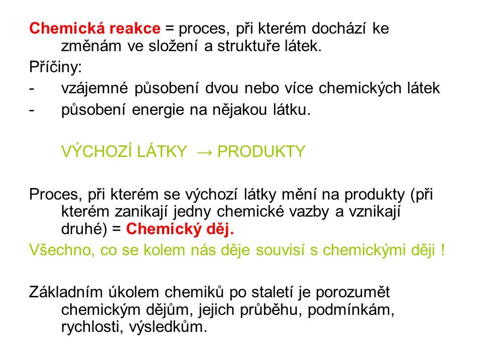Chemická reakce = proces, při kterém dochází ke změnám ve složení a struktuře látek.