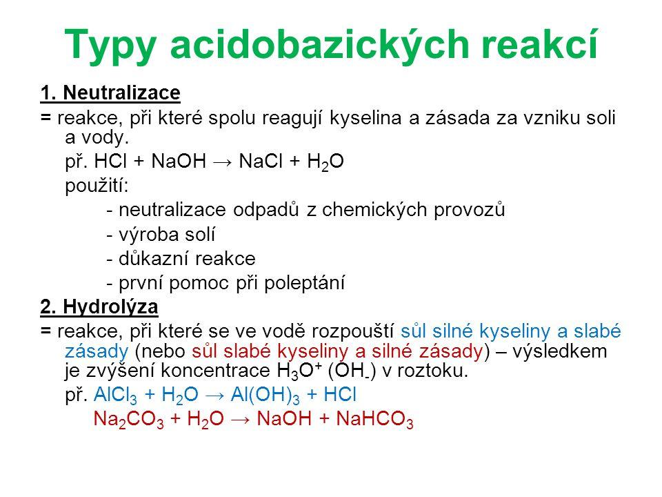 Typy acidobazických reakcí 1.