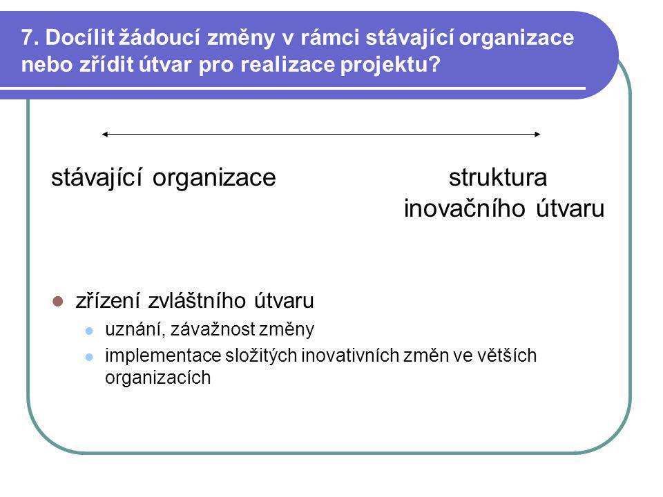 7. Docílit žádoucí změny v rámci stávající organizace nebo zřídit útvar pro realizace projektu.