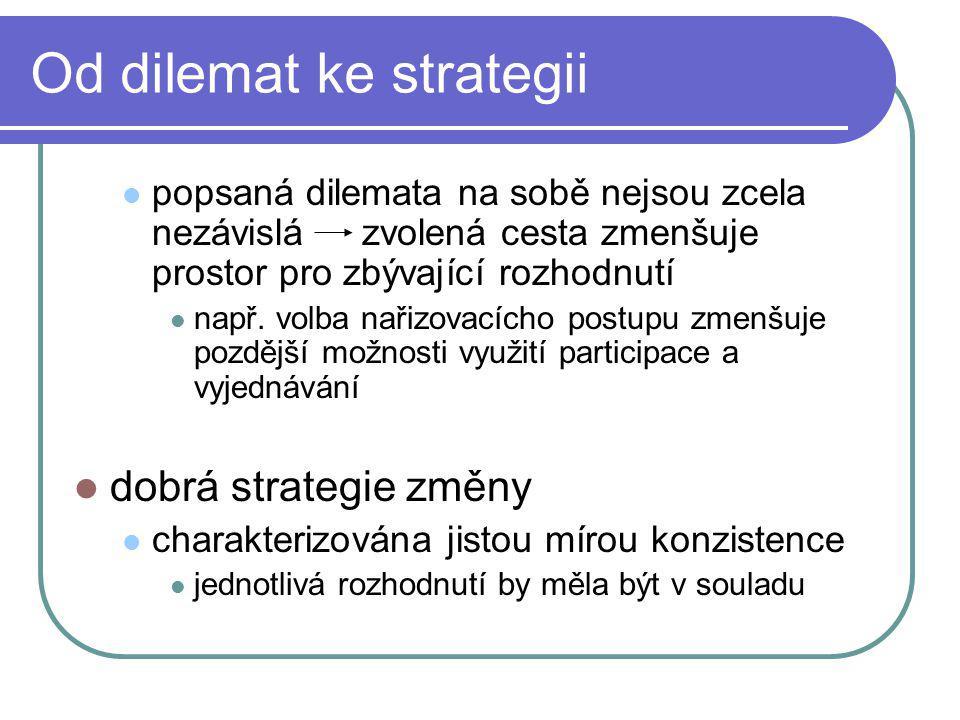 Od dilemat ke strategii popsaná dilemata na sobě nejsou zcela nezávislázvolená cesta zmenšuje prostor pro zbývající rozhodnutí např.