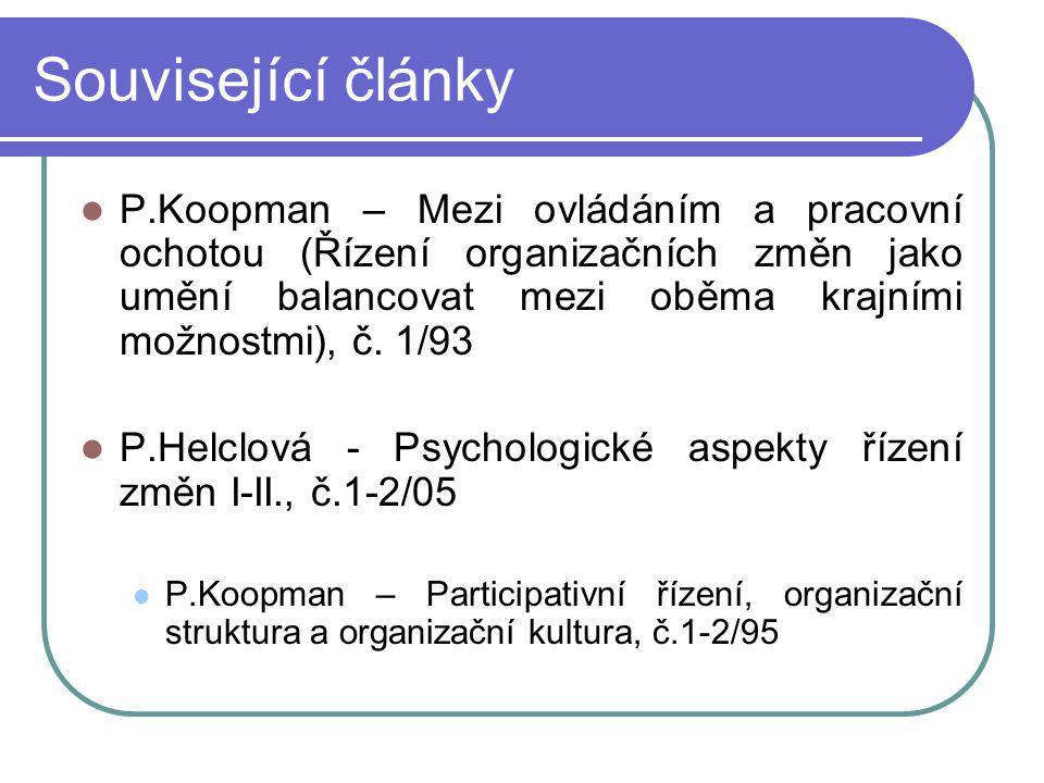 Související články P.Koopman – Mezi ovládáním a pracovní ochotou (Řízení organizačních změn jako umění balancovat mezi oběma krajními možnostmi), č.
