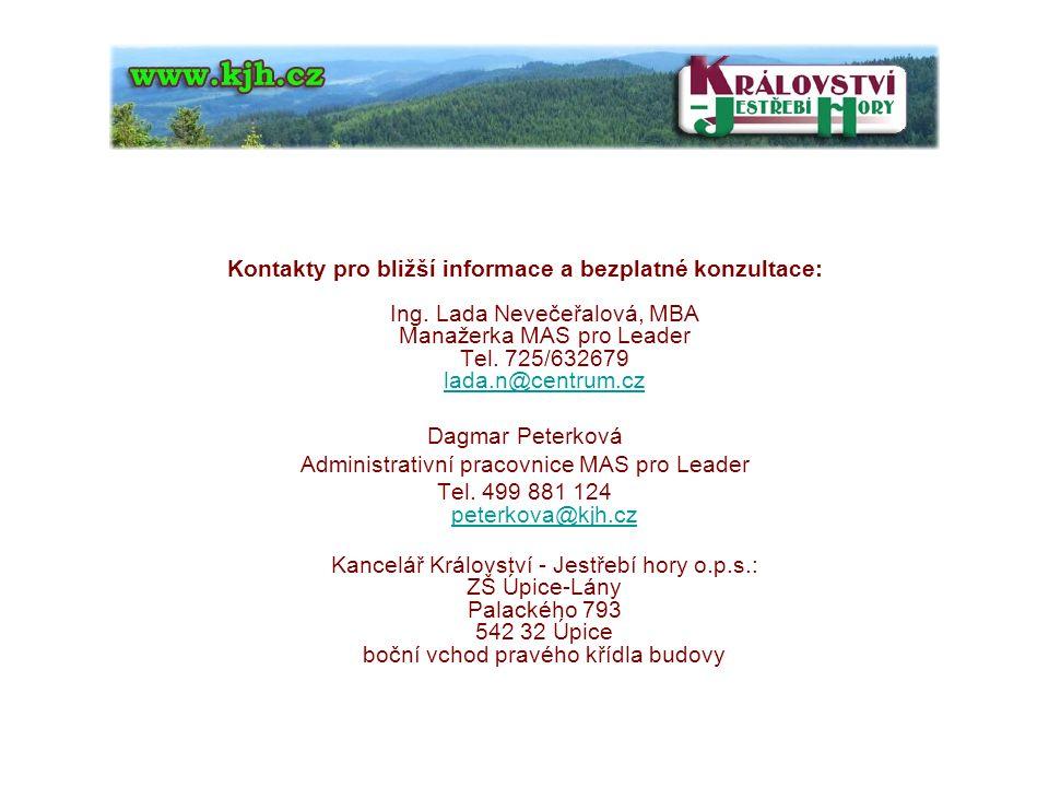 Kontakty pro bližší informace a bezplatné konzultace: Ing.