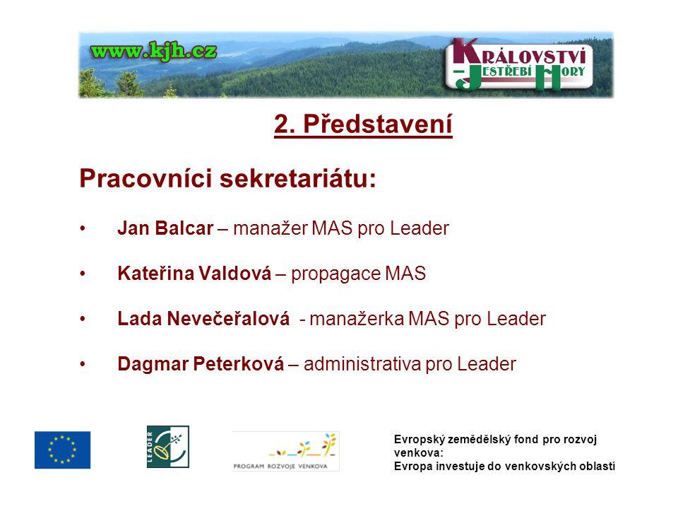 2. Představení Pracovníci sekretariátu: Jan Balcar – manažer MAS pro Leader Kateřina Valdová – propagace MAS Lada Nevečeřalová - manažerka MAS pro Lea