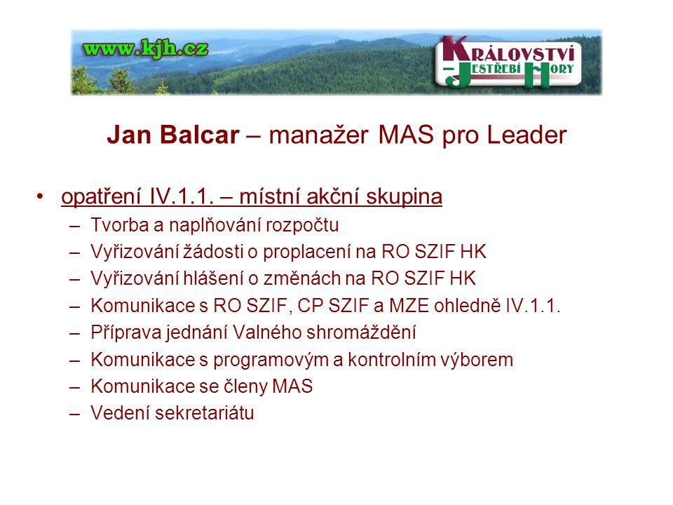 Jan Balcar – manažer MAS pro Leader opatření IV.1.1.