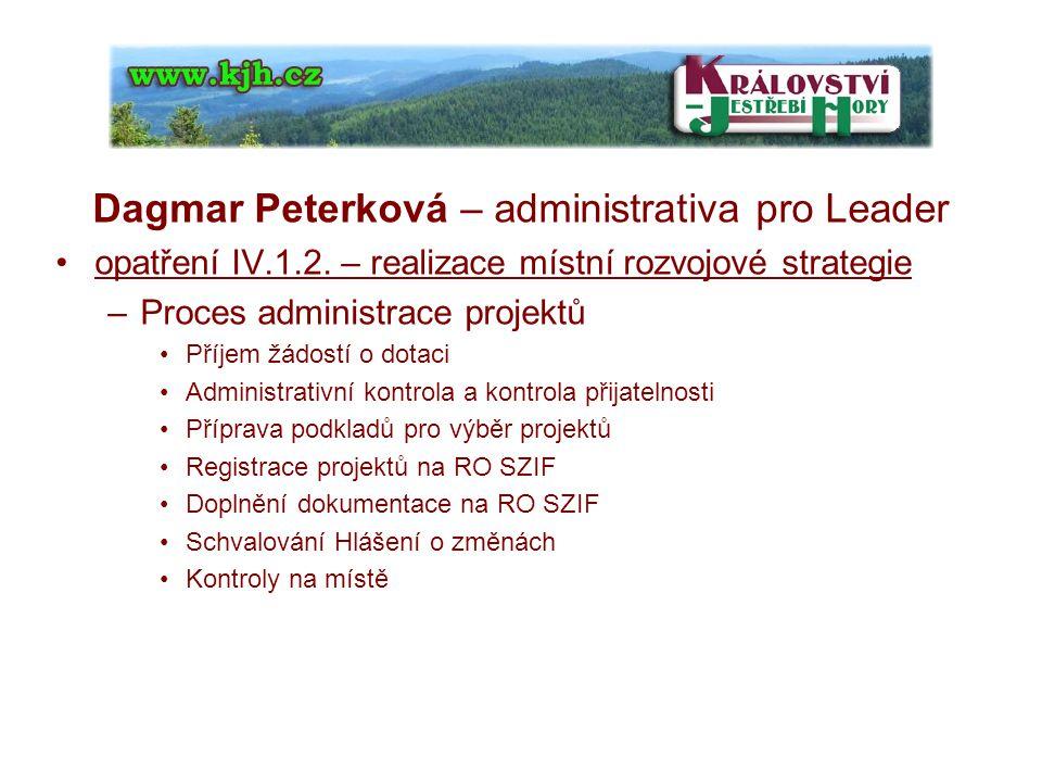 Dagmar Peterková – administrativa pro Leader opatření IV.1.2.