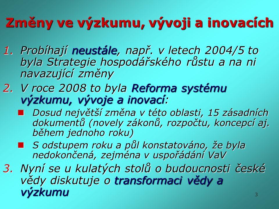 3 Změny ve výzkumu, vývoji a inovacích 1.Probíhají neustále, např. v letech 2004/5 to byla Strategie hospodářského růstu a na ni navazující změny 2.V