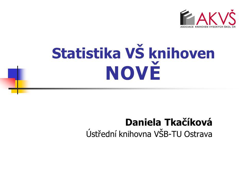 Statistika VŠ knihoven NOVĚ Daniela Tkačíková Ústřední knihovna VŠB-TU Ostrava