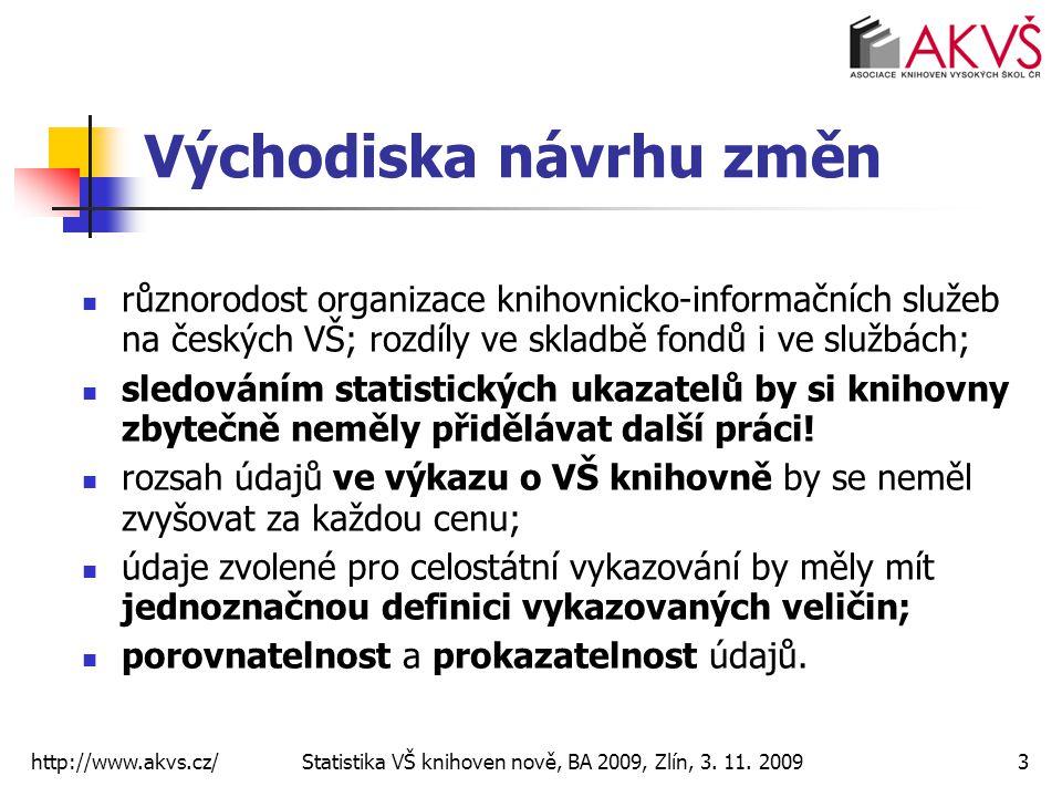 http://www.akvs.cz/ Statistika VŠ knihoven nově, BA 2009, Zlín, 3. 11. 20093 Východiska návrhu změn různorodost organizace knihovnicko-informačních sl