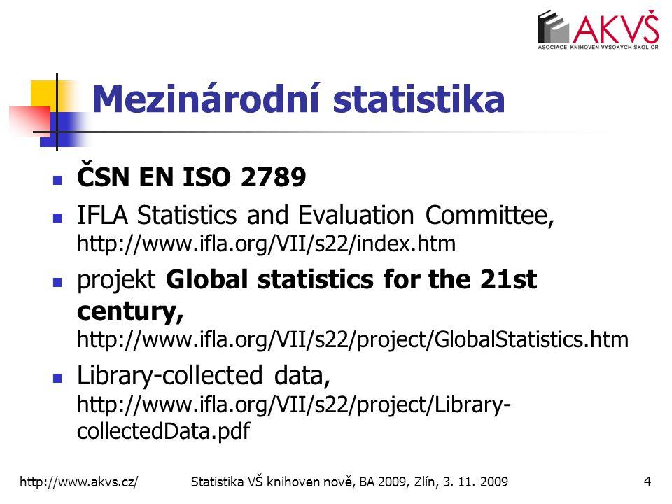 http://www.akvs.cz/ Statistika VŠ knihoven nově, BA 2009, Zlín, 3. 11. 20094 Mezinárodní statistika ČSN EN ISO 2789 IFLA Statistics and Evaluation Com