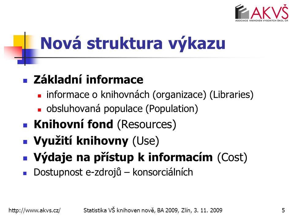 http://www.akvs.cz/ Statistika VŠ knihoven nově, BA 2009, Zlín, 3. 11. 20095 Nová struktura výkazu Základní informace informace o knihovnách (organiza