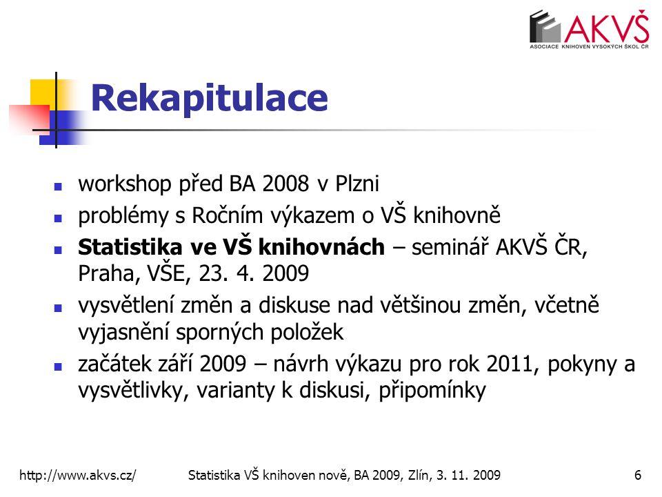 Rekapitulace workshop před BA 2008 v Plzni problémy s Ročním výkazem o VŠ knihovně Statistika ve VŠ knihovnách – seminář AKVŠ ČR, Praha, VŠE, 23. 4. 2