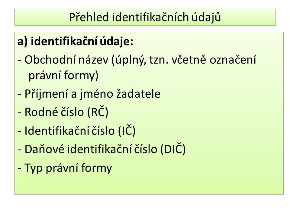 Přehled identifikačních údajů a) identifikační údaje: - Obchodní název (úplný, tzn.