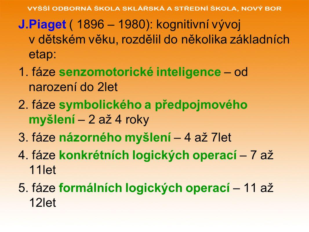 J.Piaget ( 1896 – 1980): kognitivní vývoj v dětském věku, rozdělil do několika základních etap: 1. fáze senzomotorické inteligence – od narození do 2l