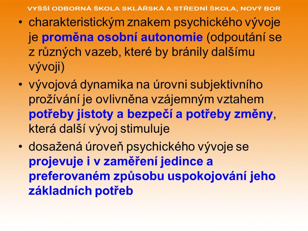 charakteristickým znakem psychického vývoje je proměna osobní autonomie (odpoutání se z různých vazeb, které by bránily dalšímu vývoji) vývojová dynam
