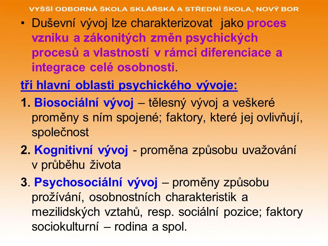 Duševní vývoj lze charakterizovat jako proces vzniku a zákonitých změn psychických procesů a vlastností v rámci diferenciace a integrace celé osobnost