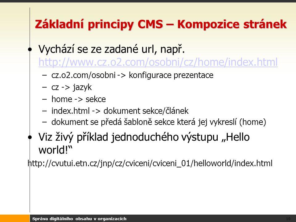 Správa digitálního obsahu v organizacích 10 Základní principy CMS – Kompozice stránek Vychází se ze zadané url, např.