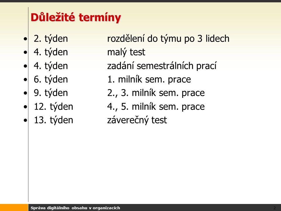 Správa digitálního obsahu v organizacích 3 Bodování Malý test 0-10 bodů Milník č.