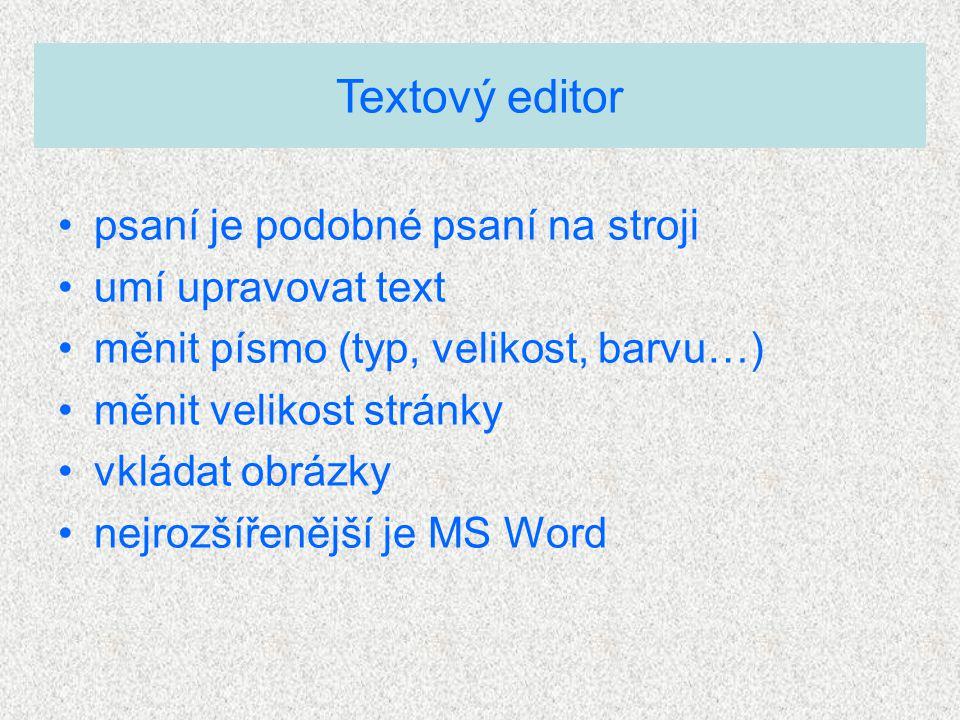psaní je podobné psaní na stroji umí upravovat text měnit písmo (typ, velikost, barvu…) měnit velikost stránky vkládat obrázky nejrozšířenější je MS W