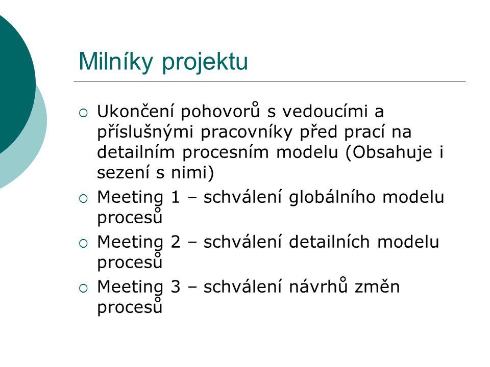 Milníky projektu  Ukončení pohovorů s vedoucími a příslušnými pracovníky před prací na detailním procesním modelu (Obsahuje i sezení s nimi)  Meeting 1 – schválení globálního modelu procesů  Meeting 2 – schválení detailních modelu procesů  Meeting 3 – schválení návrhů změn procesů