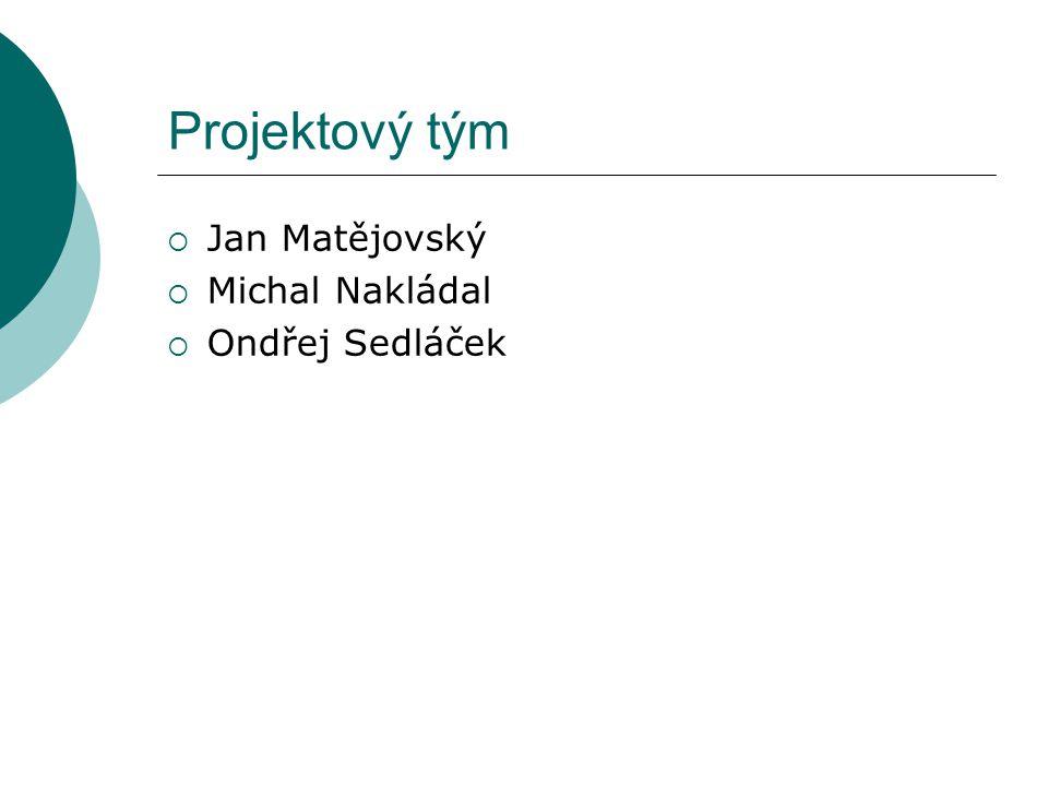 Projektový tým  Jan Matějovský  Michal Nakládal  Ondřej Sedláček
