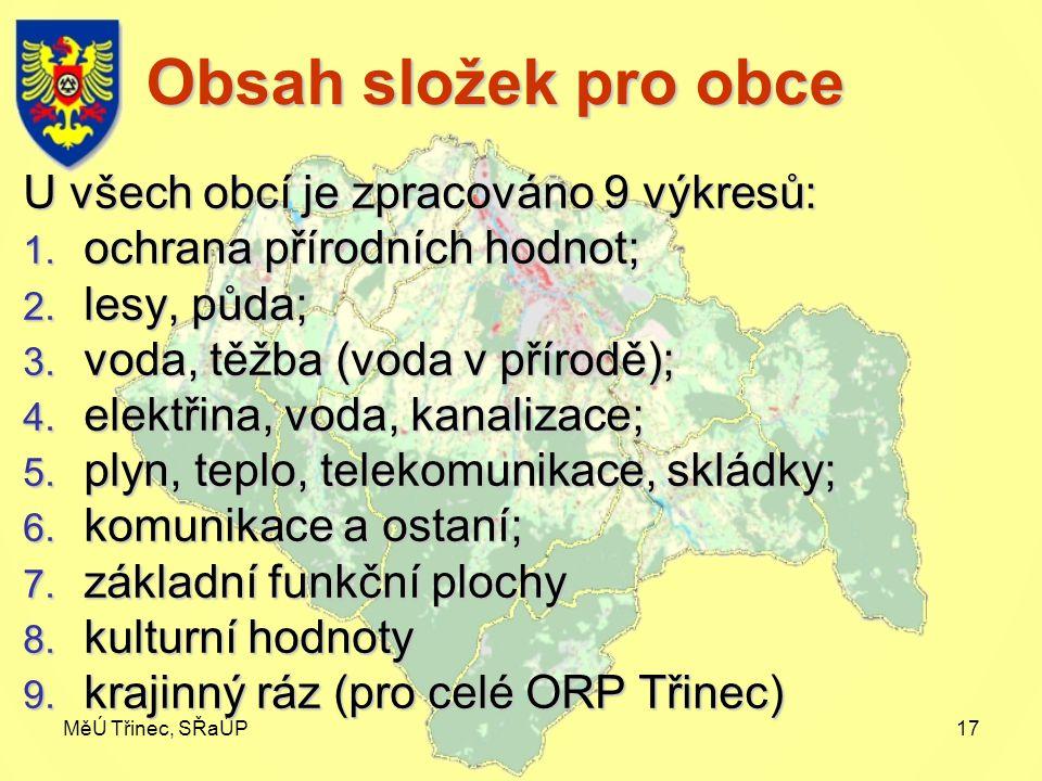 MěÚ Třinec, SŘaÚP17 Obsah složek pro obce U všech obcí je zpracováno 9 výkresů: 1.
