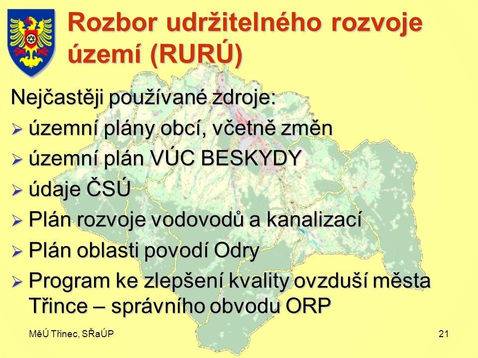 MěÚ Třinec, SŘaÚP21 Rozbor udržitelného rozvoje území (RURÚ) Nejčastěji používané zdroje:  územní plány obcí, včetně změn  územní plán VÚC BESKYDY 