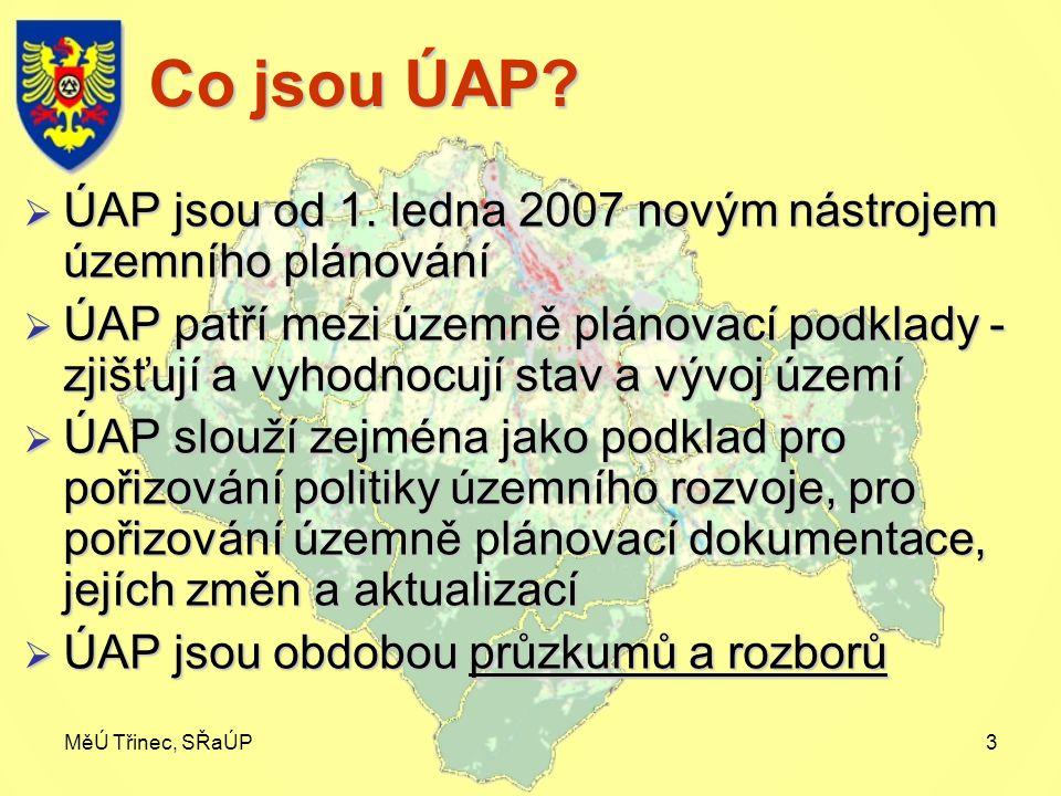 MěÚ Třinec, SŘaÚP3 Co jsou ÚAP?  ÚAP jsou od 1. ledna 2007 novým nástrojem územního plánování  ÚAP patří mezi územně plánovací podklady - zjišťují a
