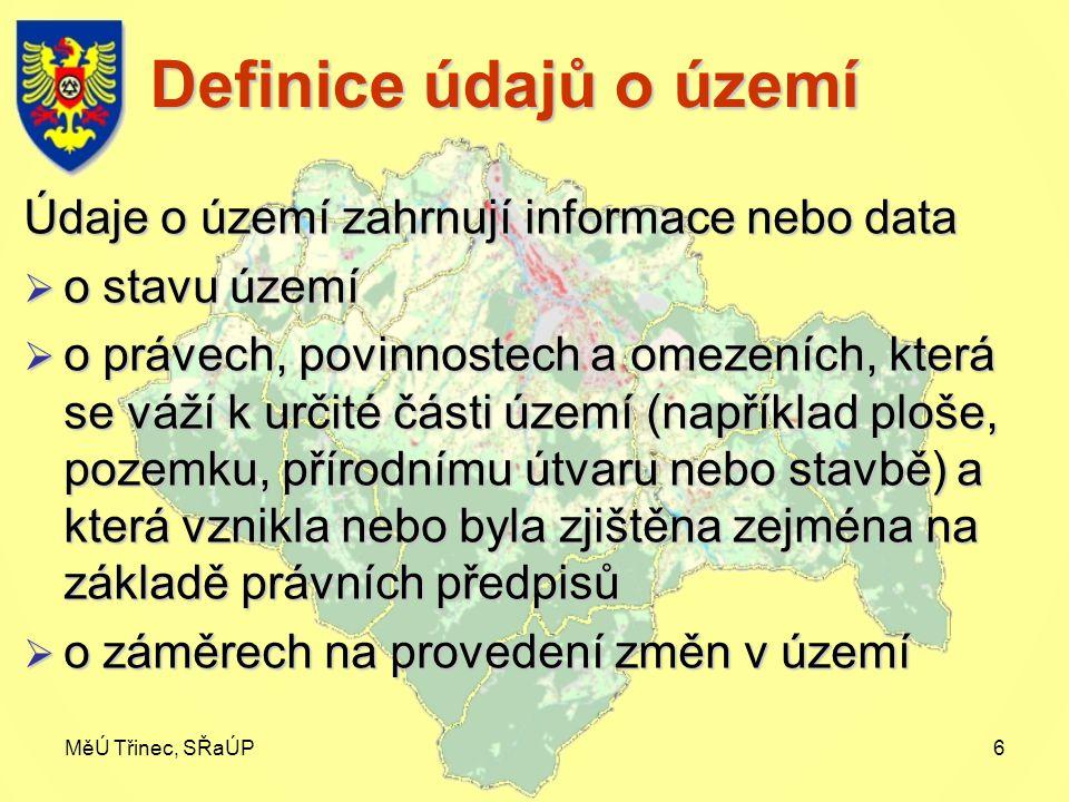 MěÚ Třinec, SŘaÚP6 Definice údajů o území Údaje o území zahrnují informace nebo data  o stavu území  o právech, povinnostech a omezeních, která se váží k určité části území (například ploše, pozemku, přírodnímu útvaru nebo stavbě) a která vznikla nebo byla zjištěna zejména na základě právních předpisů  o záměrech na provedení změn v území