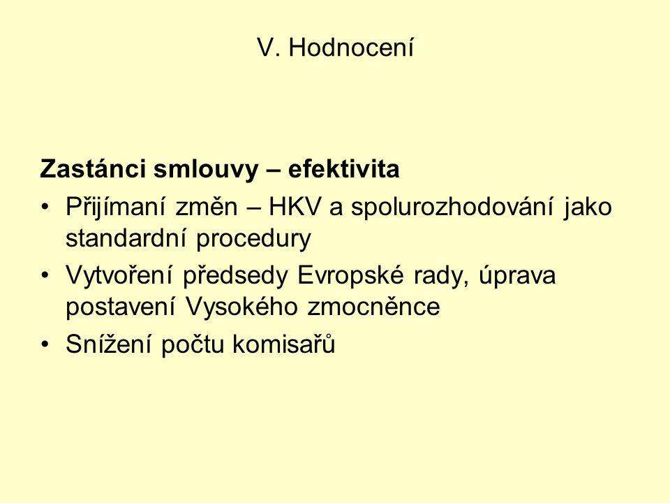 V. Hodnocení Zastánci smlouvy – efektivita Přijímaní změn – HKV a spolurozhodování jako standardní procedury Vytvoření předsedy Evropské rady, úprava