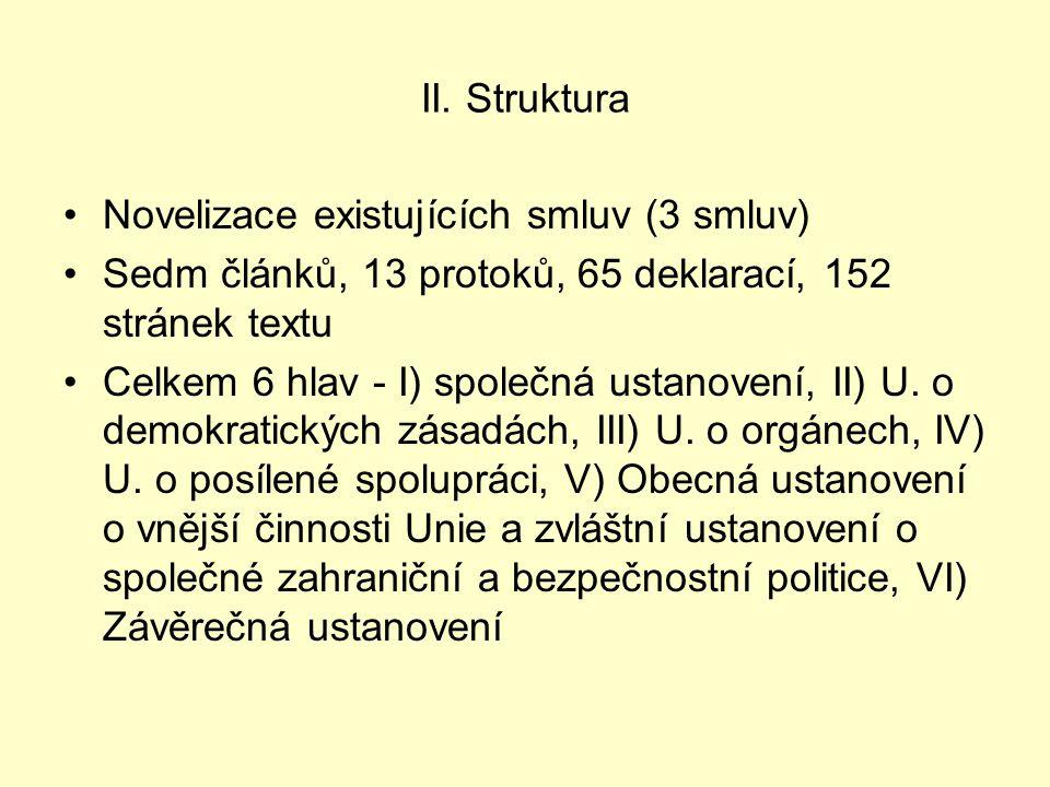 II. Struktura Novelizace existujících smluv (3 smluv) Sedm článků, 13 protoků, 65 deklarací, 152 stránek textu Celkem 6 hlav - I) společná ustanovení,