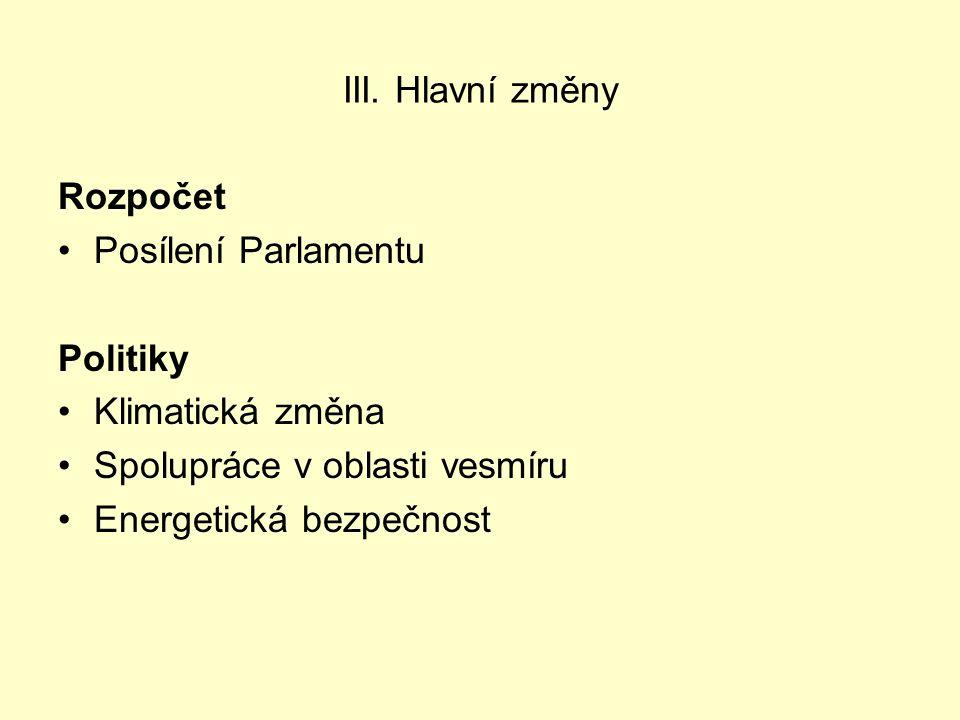 III. Hlavní změny Rozpočet Posílení Parlamentu Politiky Klimatická změna Spolupráce v oblasti vesmíru Energetická bezpečnost