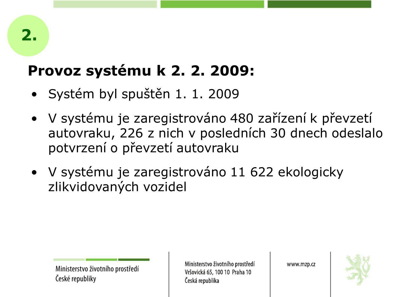 Provoz systému k 2. 2. 2009: 2. Systém byl spuštěn 1.