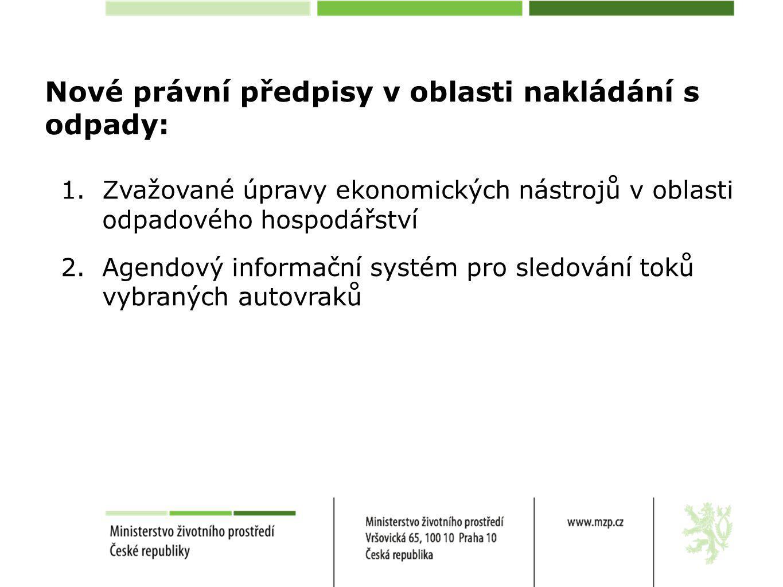 Nové právní předpisy v oblasti nakládání s odpady: 1.Zvažované úpravy ekonomických nástrojů v oblasti odpadového hospodářství 2.Agendový informační systém pro sledování toků vybraných autovraků