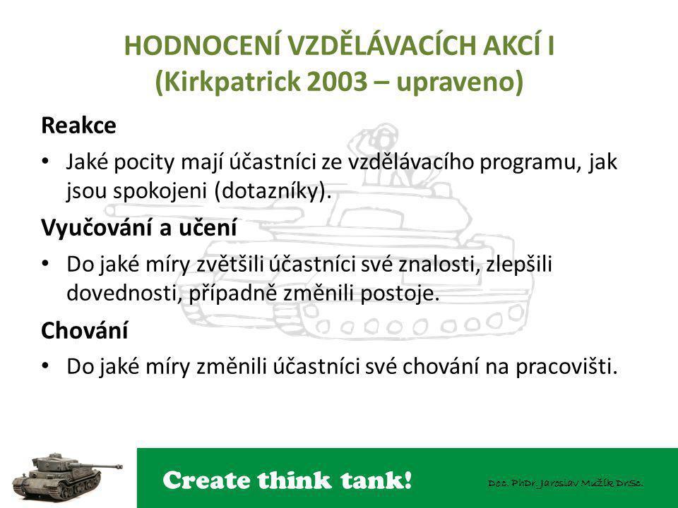 Create think tank! Doc. PhDr. Jaroslav Mužík DrSc. HODNOCENÍ VZDĚLÁVACÍCH AKCÍ I (Kirkpatrick 2003 – upraveno) Reakce Jaké pocity mají účastníci ze vz